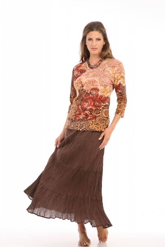 Tiered Skirt in Chocolate