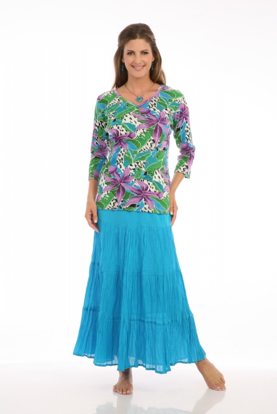 Tiered Skirt in Turquoise