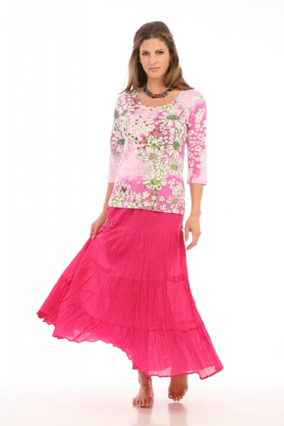 Tiered Skirt in Fuchsia