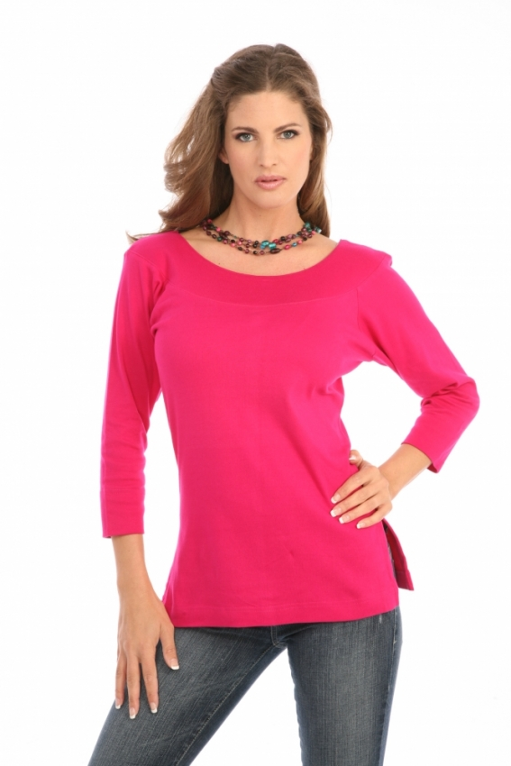 Ballet Neck Tee in Fuchsia