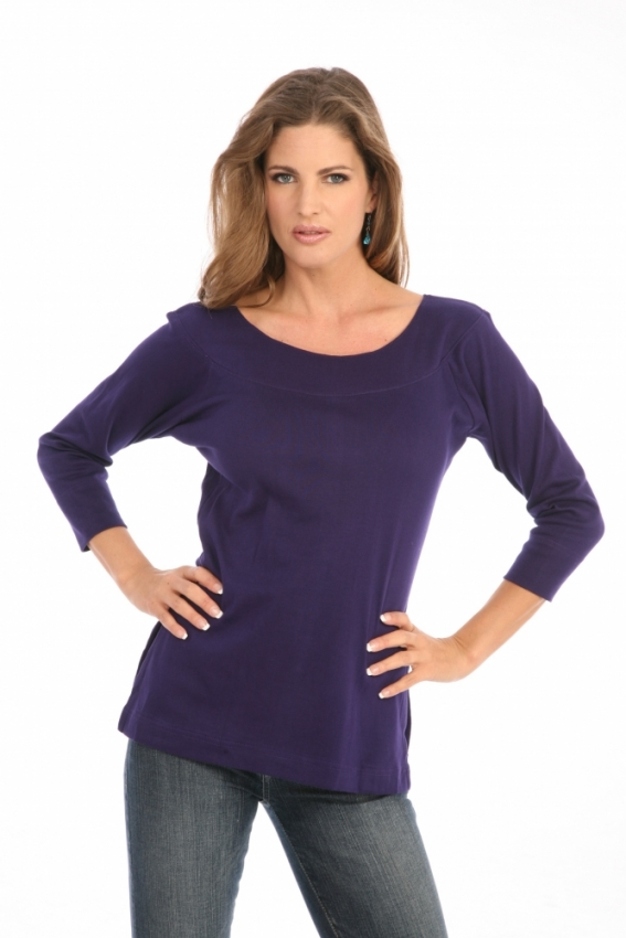 Ballet Neck Tee in Purple