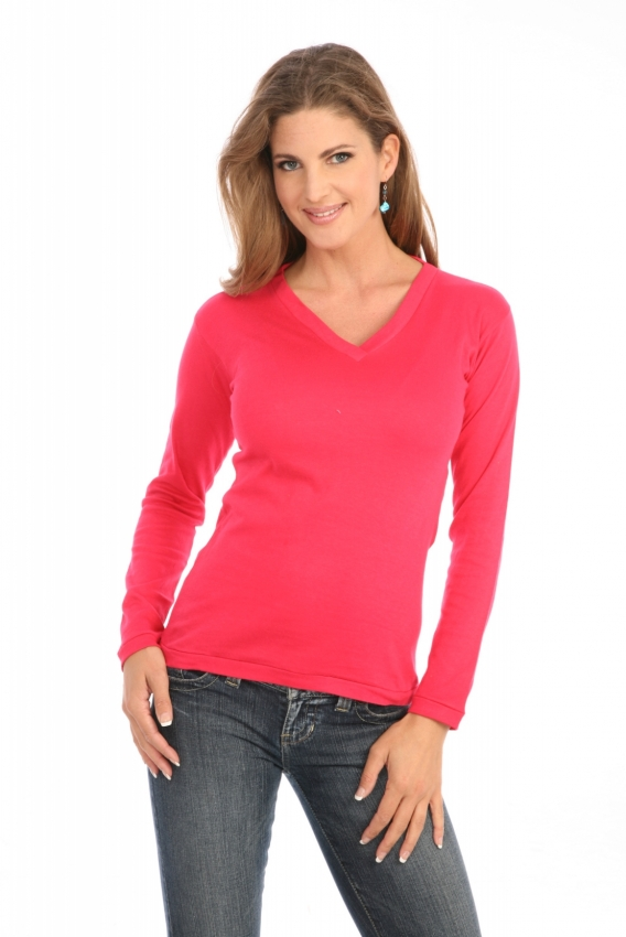 Cross-Over V-Neck in Cranberry